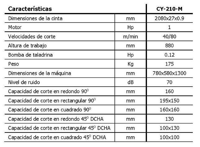 Sierra de cinta manual MG, mod. CY-210-M