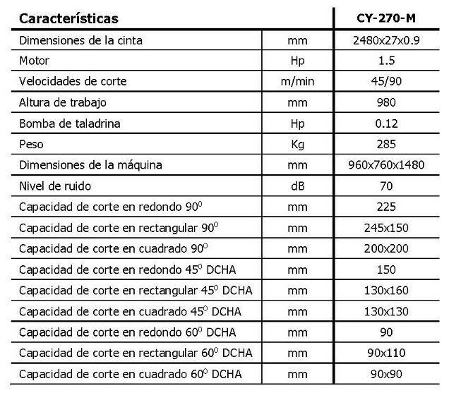 Sierra de cinta manual MG, mod. CY-270-N