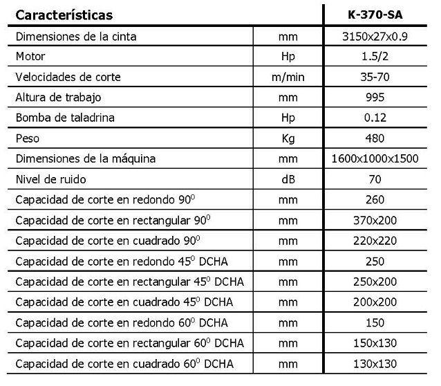Sierra de cinta semiautomática MG, mod. K-370-SA